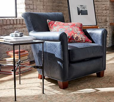 ARM CHAIR In Signature Whiskey Leather. Irving Leather Armchair #potterybarn