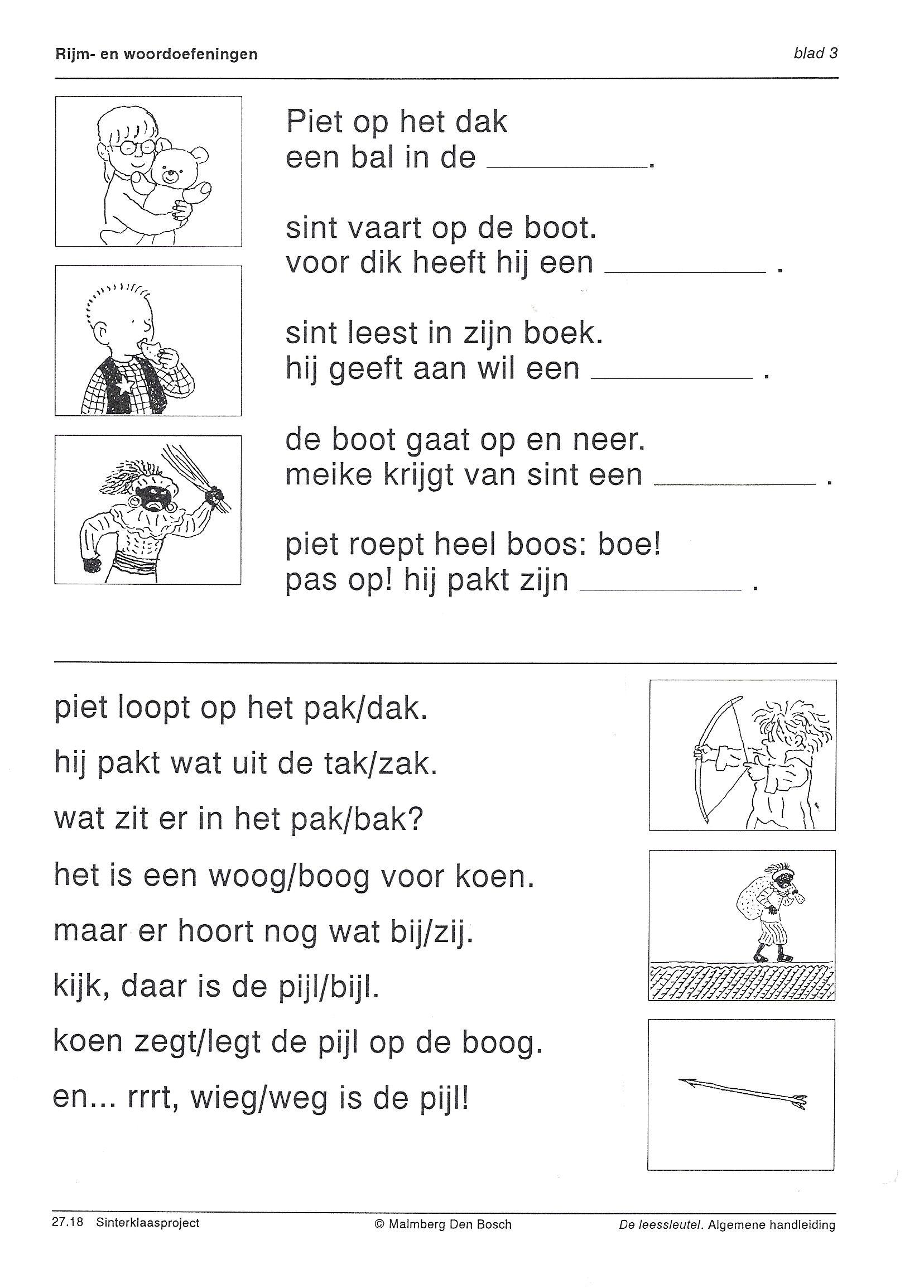 Taal Werkblad Rijmen Leren Lezen Sinterklaas Werkbladen