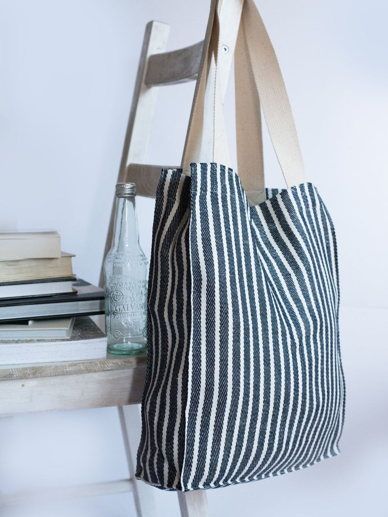 Bag tote bag with outside pocket 100/% linen