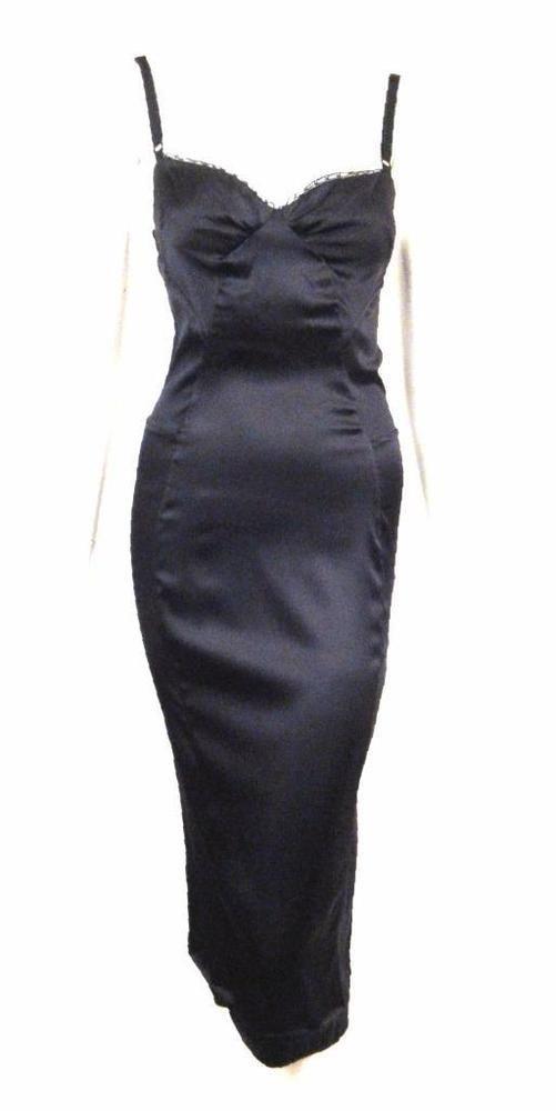 4dbb571c3fbff D&G DOLCE GABBANA BLACK LACE TRIMMED STRETCH SILK SLIP DRESS SZ.26/40 | eBay