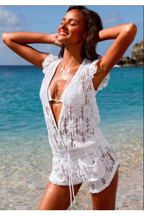 3be73649c4c07 Sexy sheer white lace romper beach cover up | Fashion | Lace ...