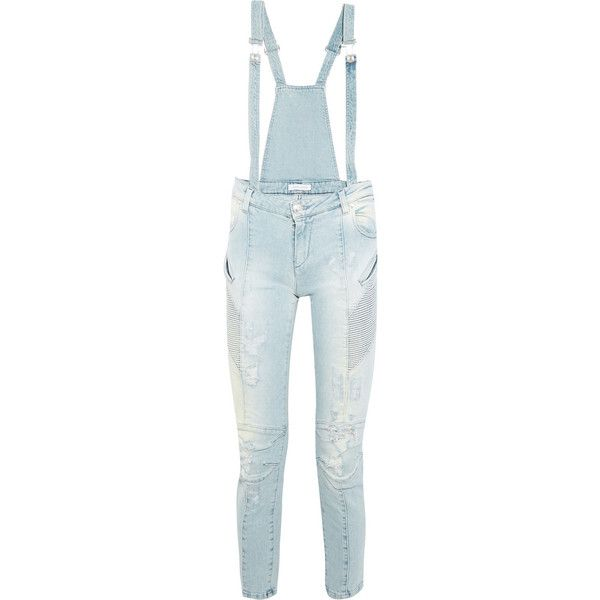 2c4f43f981e Pierre Balmain Distressed denim overalls ( 145) ❤ liked on Polyvore  featuring jumpsuits