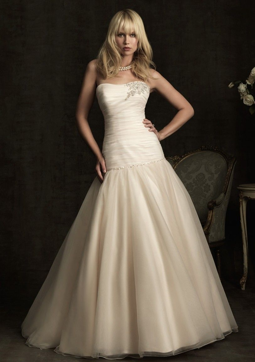 A-Line Strapless Chapel Trailing Organza With Beaded Zipper Back Bride Dresses