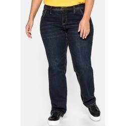 Große Größen: Gerade Stretch-Jeans Lana mit Used-Effekten, dark blue Denim, Gr.88 Sheego