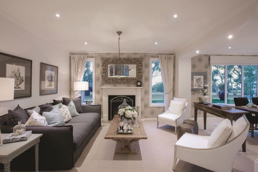 Formal lounge room in the Classic Hamptons interior style by World ...