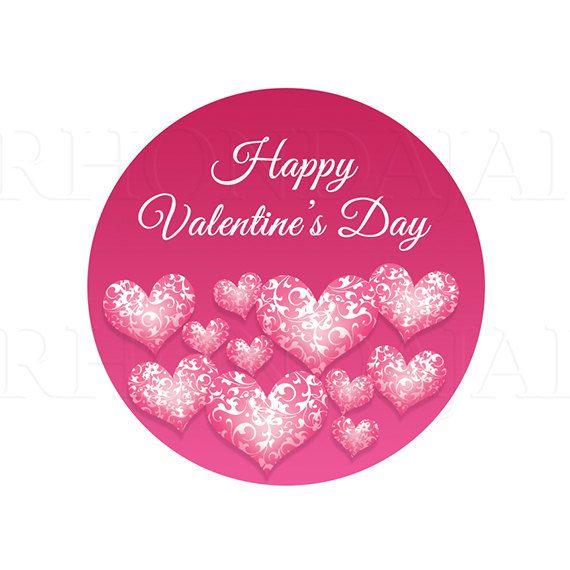 Printable valentines day 2 round sticker design by rhondajai etsy com