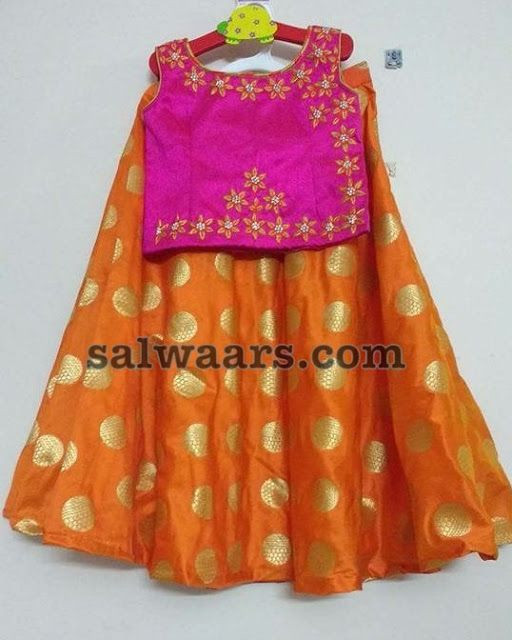 Orange Pink Benaras Crop Top Kids Gown Kids Blouse Designs Kids Frocks