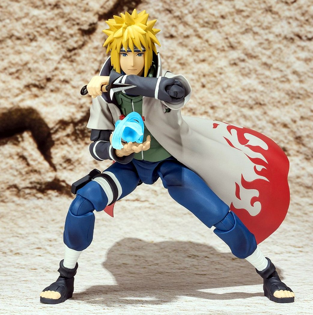 "NAMIKAZE MINATO FIGURE 14,5 CM NARUTO SHIPPUDEN SH FIGUARTS. By bandai. Minato comes with an attachable effect part and custom ninja throwing knife (""kunai"") for recreating action packed scenes from the anime. Set also includes interchangeable hands (x8) and interchangeable face parts (x2). Fourth in the Naruto Shippuden line1 •Includes his custom throwing knife •Also has interchangeable hands"