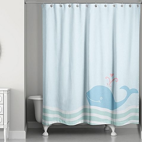 Create A Delightful Coastal Interior With The Whale Wave Shower Curtain