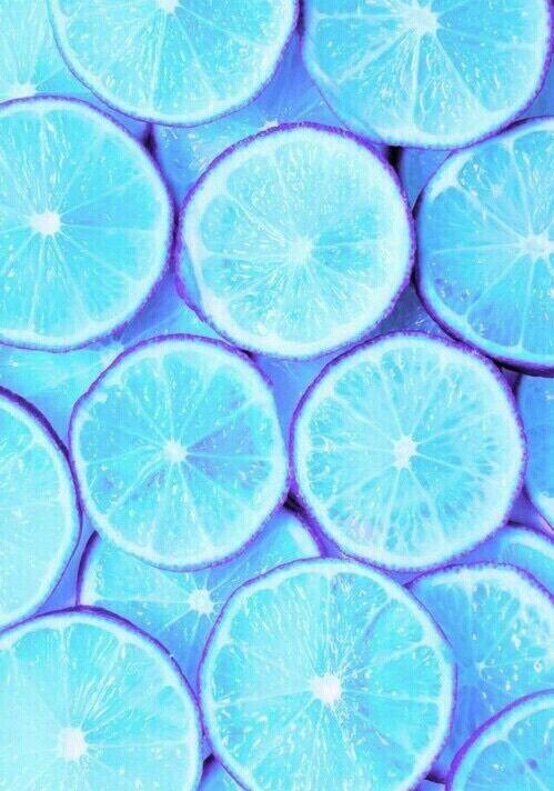 Lemon and blue wallpaper