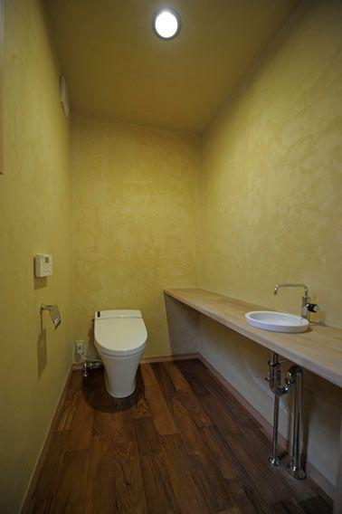 珪藻土の塗り壁トイレ トイレ おしゃれ 塗り壁 家