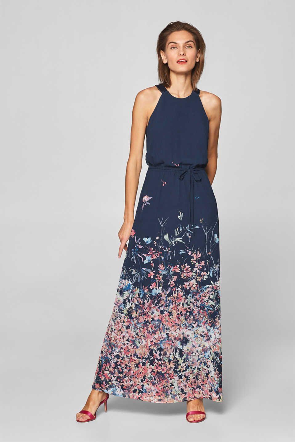 Esprit - Chiffon-Kleid mit amerikanischen Schultern  Kleider
