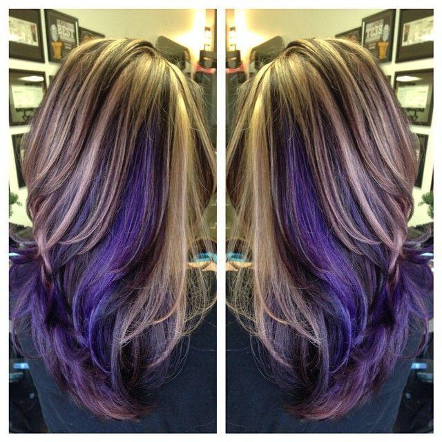 Image Result For Chocolate Brown Purple Lowlights In Blonde Hair