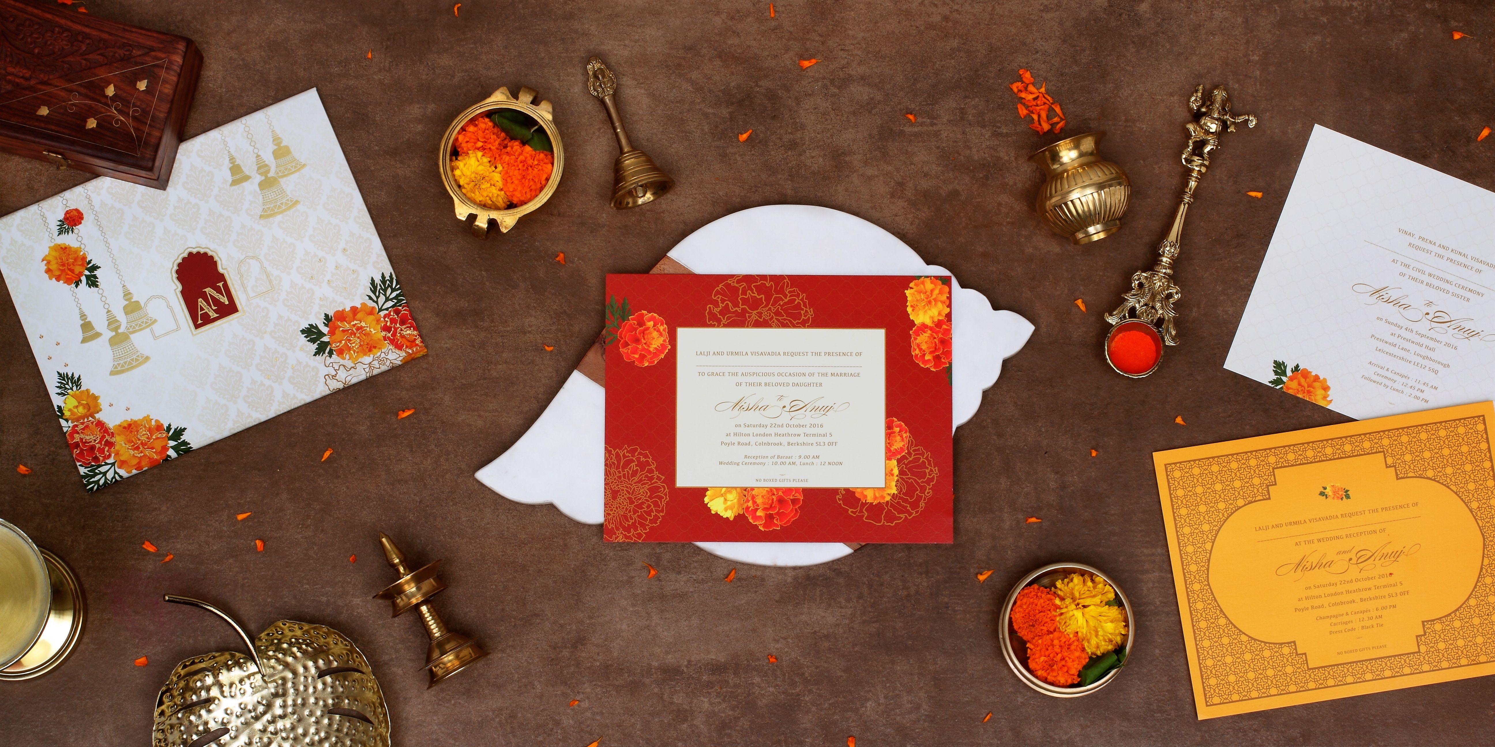 Marigold & Brass Bells Indian Wedding Invitation #indianwedding ...