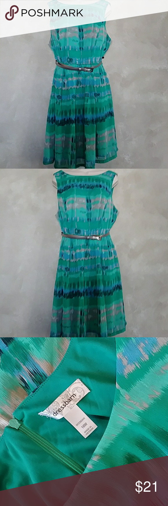 ????DressBarn Teal Dress/Silver Belt Size 16W You'll be stylin right into Spring in this gorgeous teal dress with splashes of cream, blue, black & tan and a silver belt to tie it all together!  Career wear with jacket in the same color of any of the splashes or wear casual with your fave sandals!  Like new condition!   Belt has a few minor scratches where buckles. (See last pic) Easy Care wash/wear!! ~22 bust ~20 waist  ~37 long S5 Dress Barn Dresses #wfaves