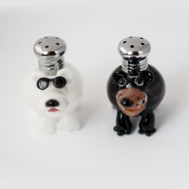 Bears Salt & Pepper Shaker Set by Lucky Duck Glass