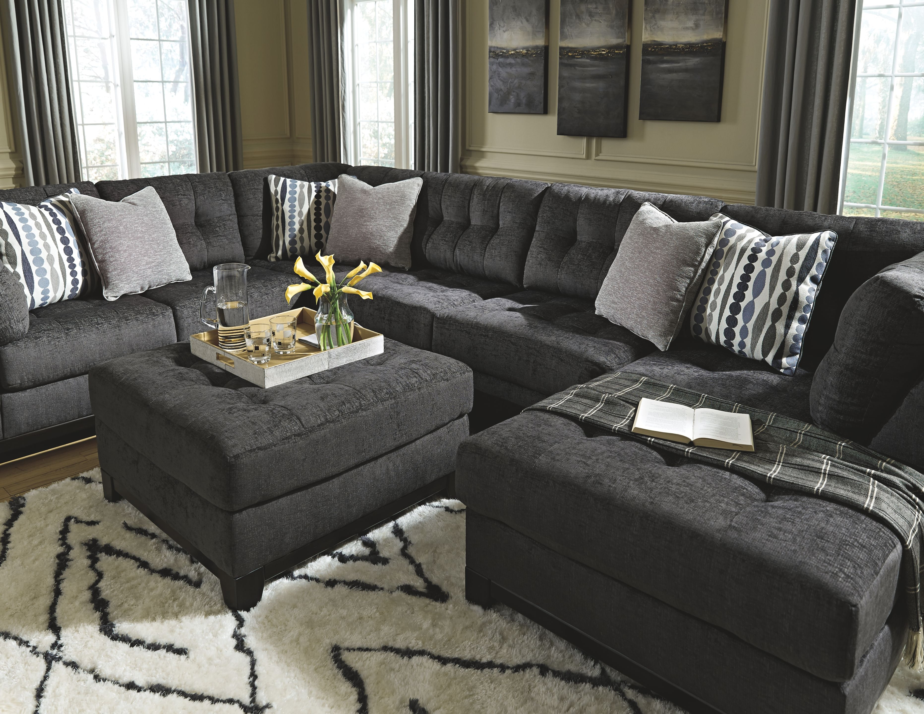 Reidshire Oversized Ottoman In 2020 Grey Couch Living Room Dark Grey Couch Living Room Ashley Furniture Living Room