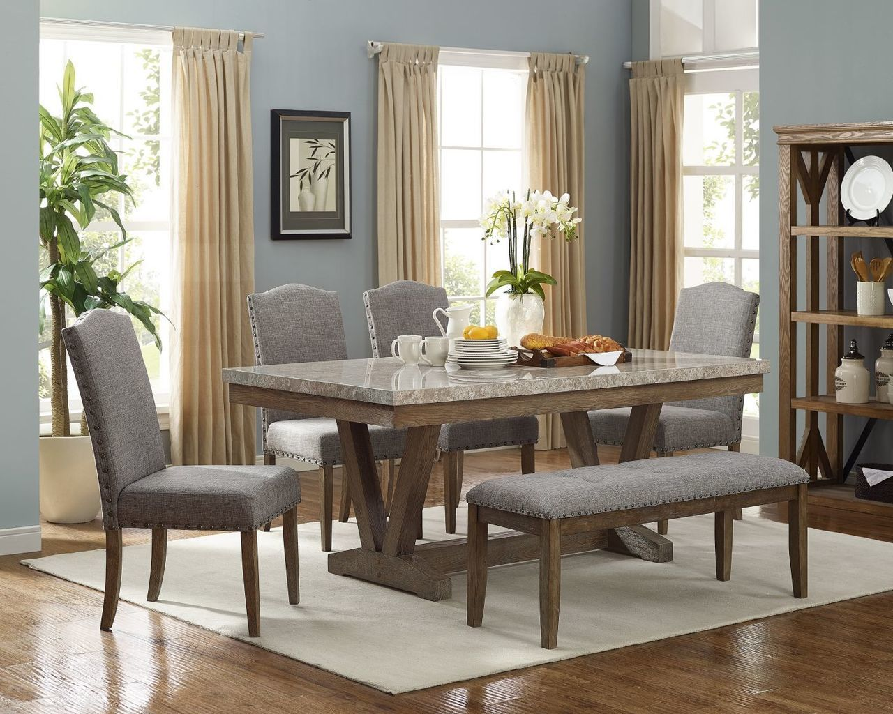 Crown Mark 6pc Vesper Collection Dining Set In 2020 Marble Top