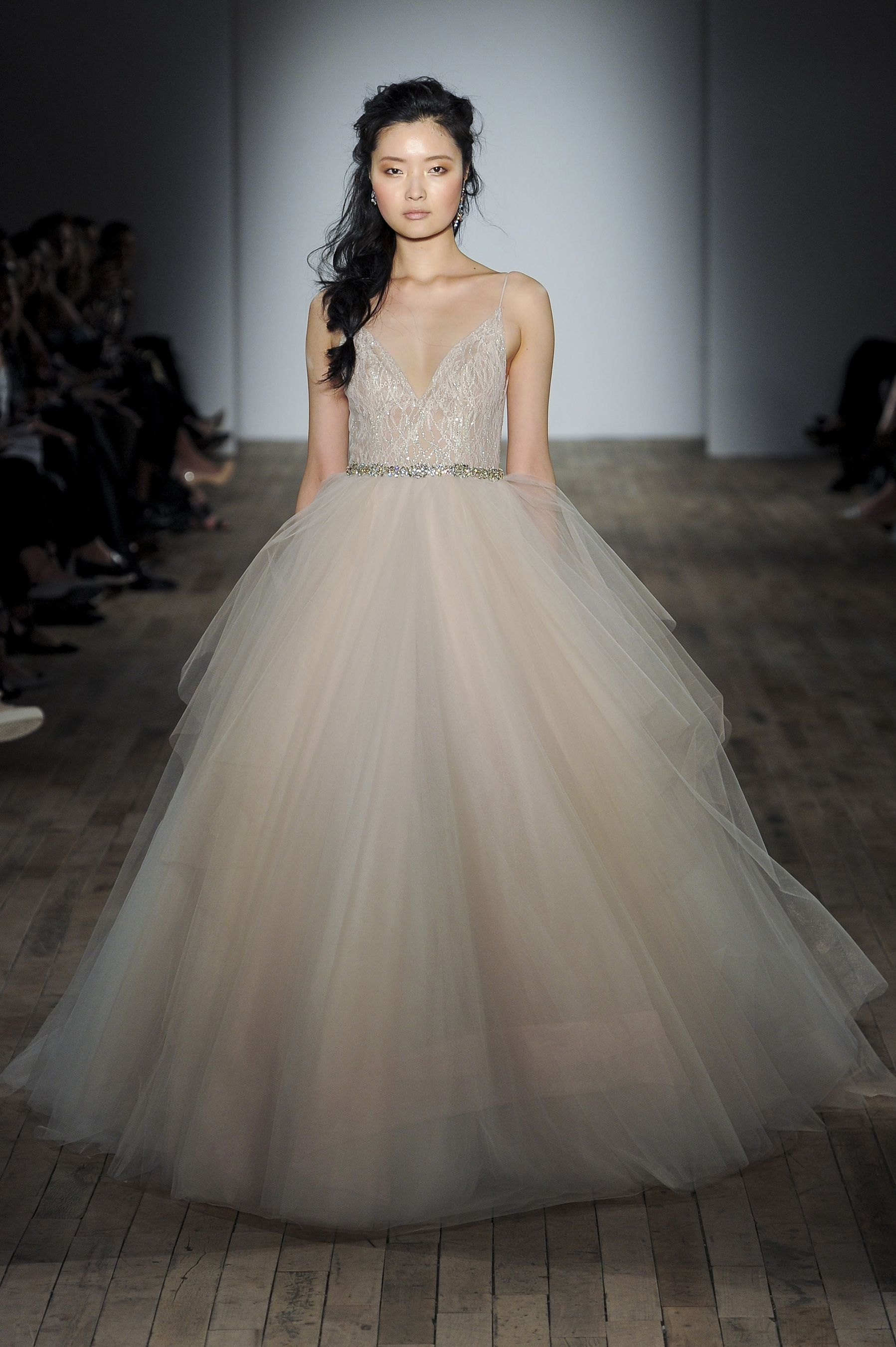 Lazaro Fall 2017 Bridal Spagetti Strap V Neck Heavily Embellished Bodice Tulle Skirt Champagne Color Romantic Ball Gown A Line Wedding Dress Open Back