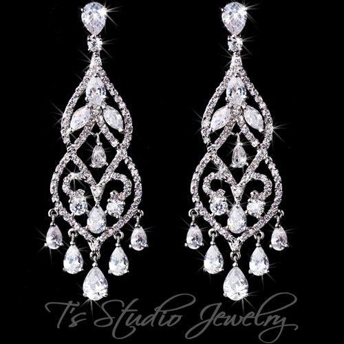 Boda Graduación Diamante Cristal Estrás Pendientes Colgantes De Plata Largo geométrica