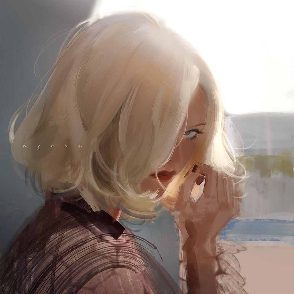 Картинки на аву блондинка нарисованная