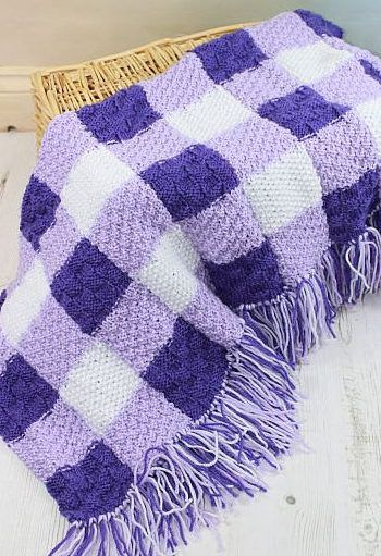 Knitting Pattern For Gingham Baby Blanket Three Textured Stitch