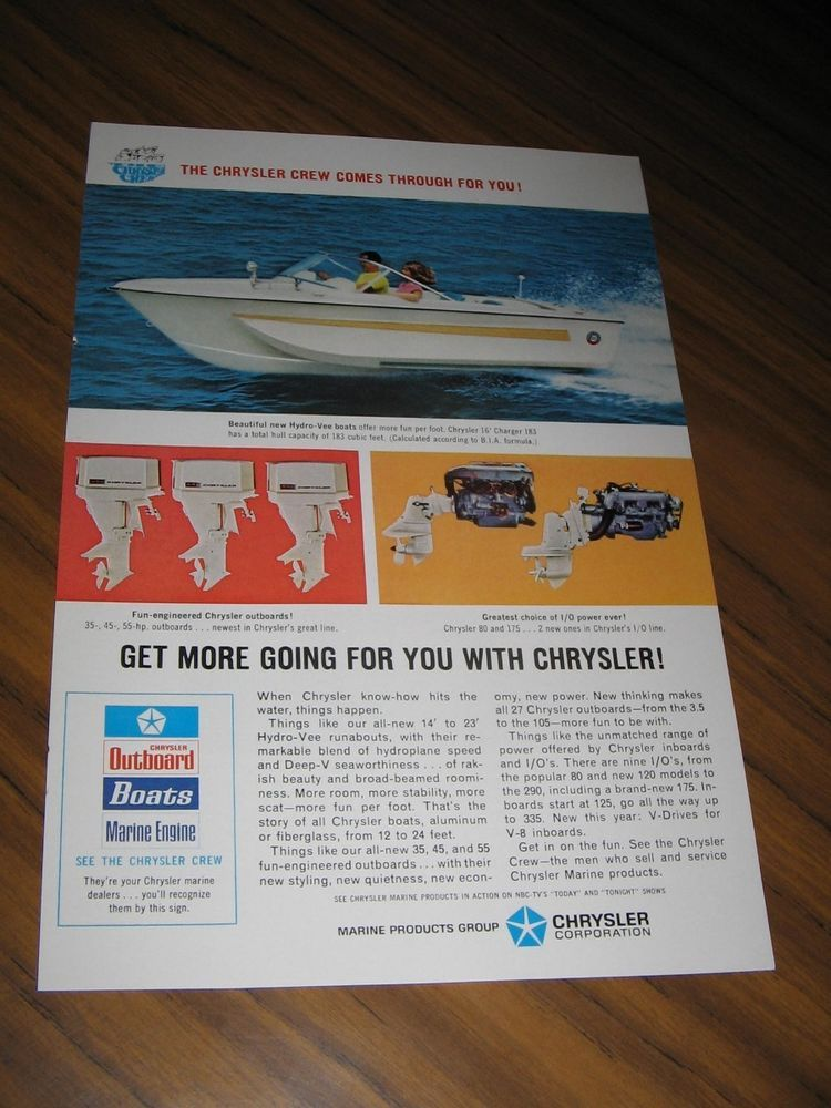 1967 Print Ad Chrysler 16 Charger Boats Outboard Inboard Motors
