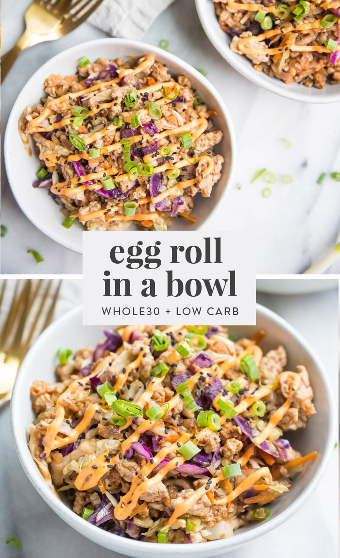 Egg Roll in a Bowl with Creamy Chili Sauce (Whole30, Low Carb, Keto, Paleo)