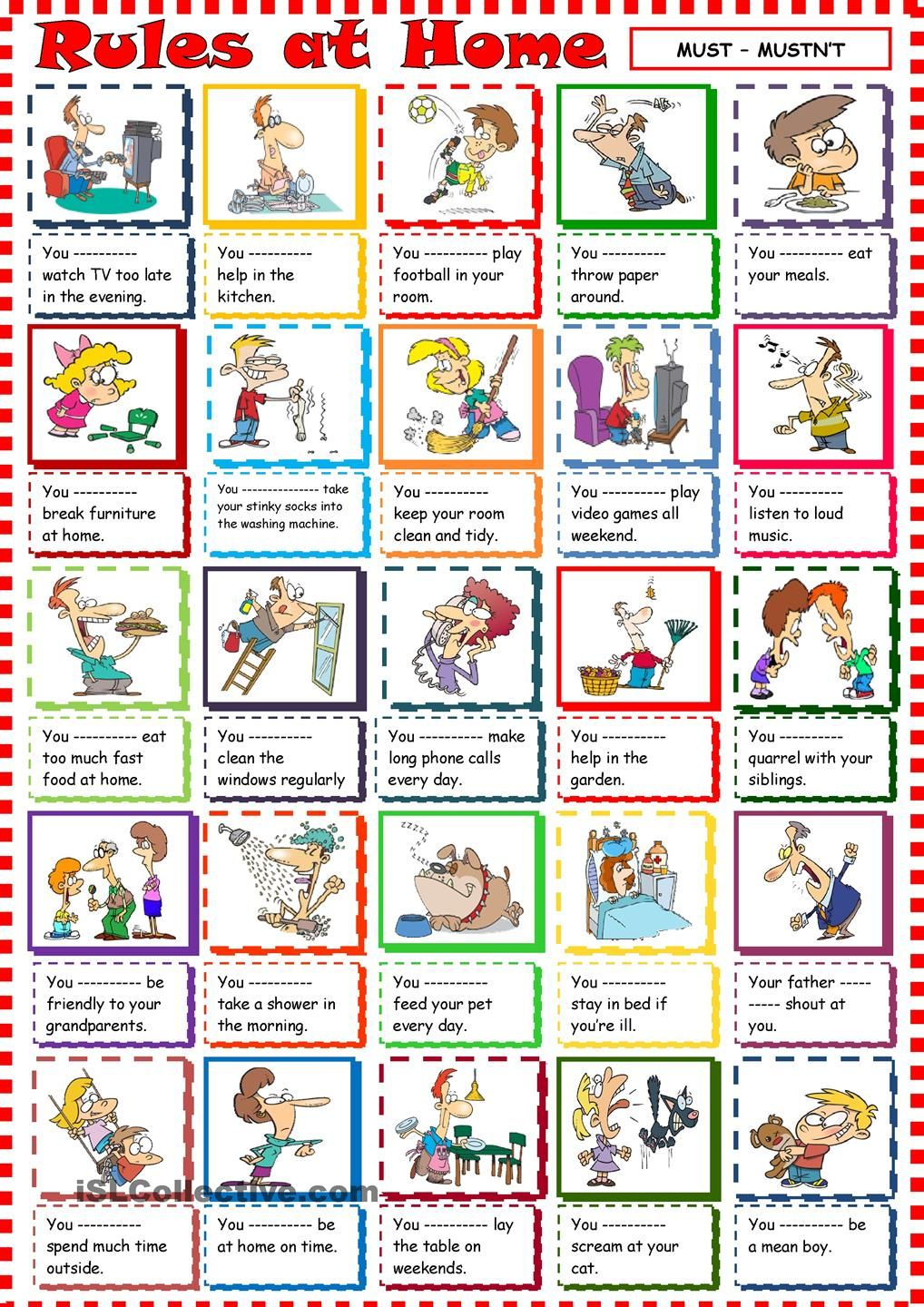 Rules at Home with must and mustnt English worksheets