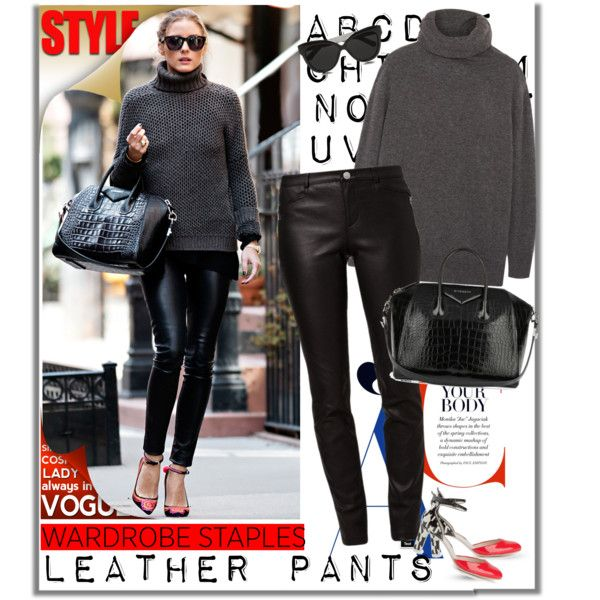 Olivia Palermo wears Leather Pants with turtleneck by ellie366 on Polyvore featuring moda, Joseph, Rebecca Minkoff, Sophia Webster, Givenchy, Linda Farrow, StreetStyle, leatherpants, CelebrityStyle and WardrobeStaples