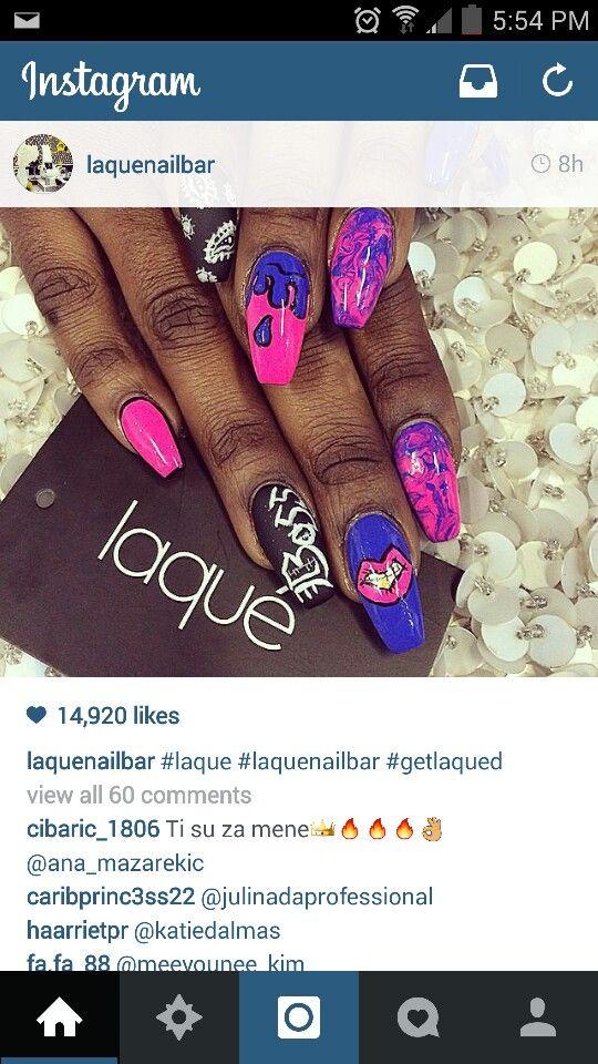 Dope ass nails by laque nail bar nail art blue nails pink lips boss