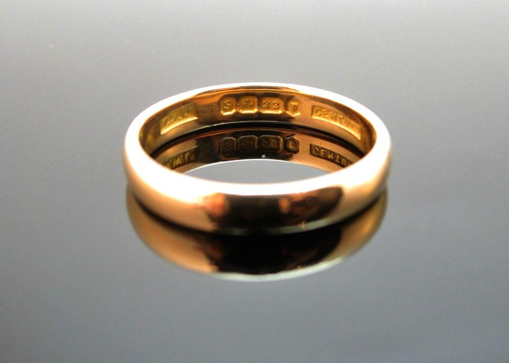 FINE VINTAGE 22CT GOLD WEDDING BAND RING LONDON 1953 SIZE US 5 UK