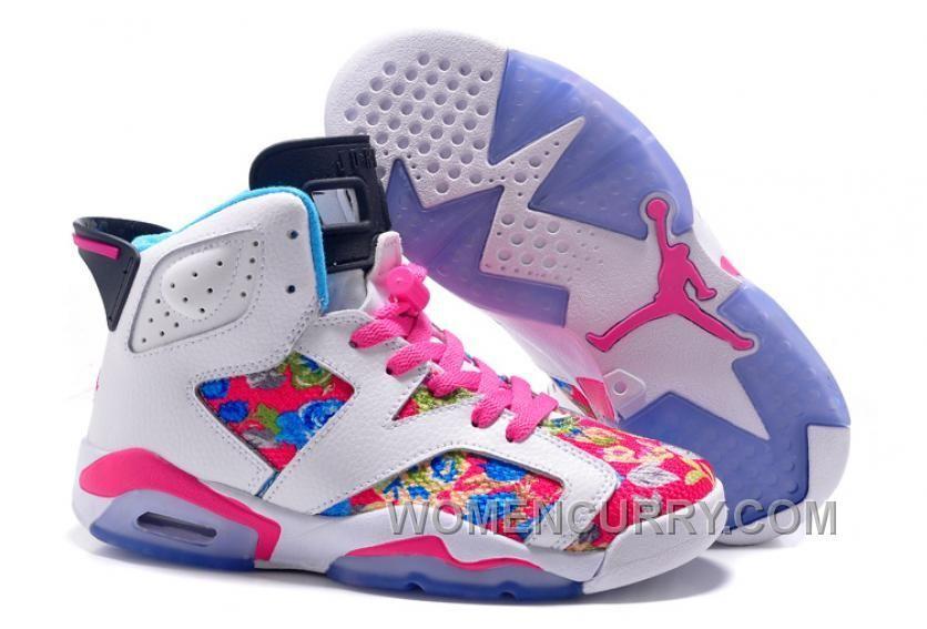 015d8f3ca6c 2017 Girls Air Jordan 6 Pink White Floral Print Shoes For Sale Super Deals  HCHtSa