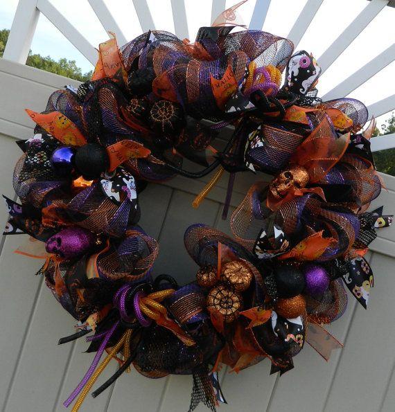 Deco Mesh Halloween Wreath Pumpkin skull wreath by WhatsOnYourDoor