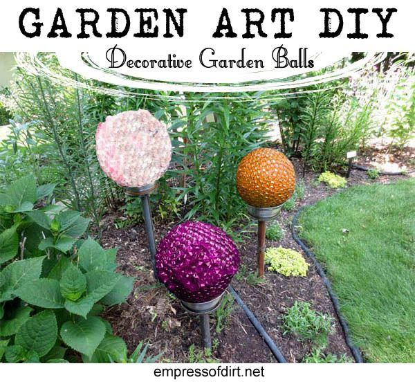 DIY Decorative Garden Ball Tutorial Gardens Garden art and Lamps