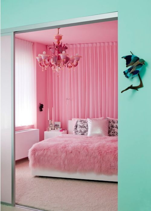 Pink And Aqua Bedroom I Love How The Room Is Split In Color Almost As If Two Diffe Rooms Colors Are Very Fem Early It