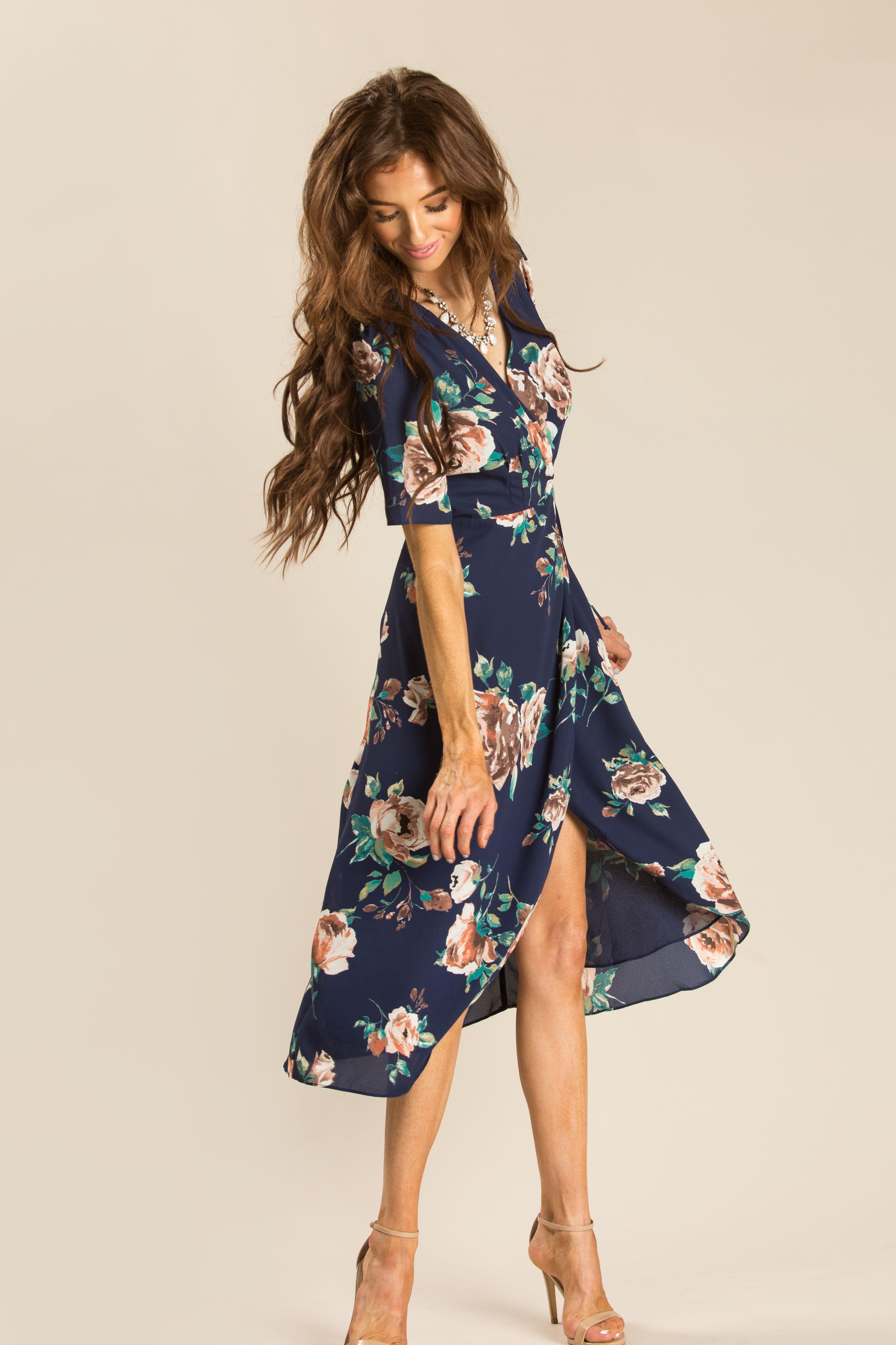 Annelise Navy-Blue Floral Wrap Dress  Wrap dress floral