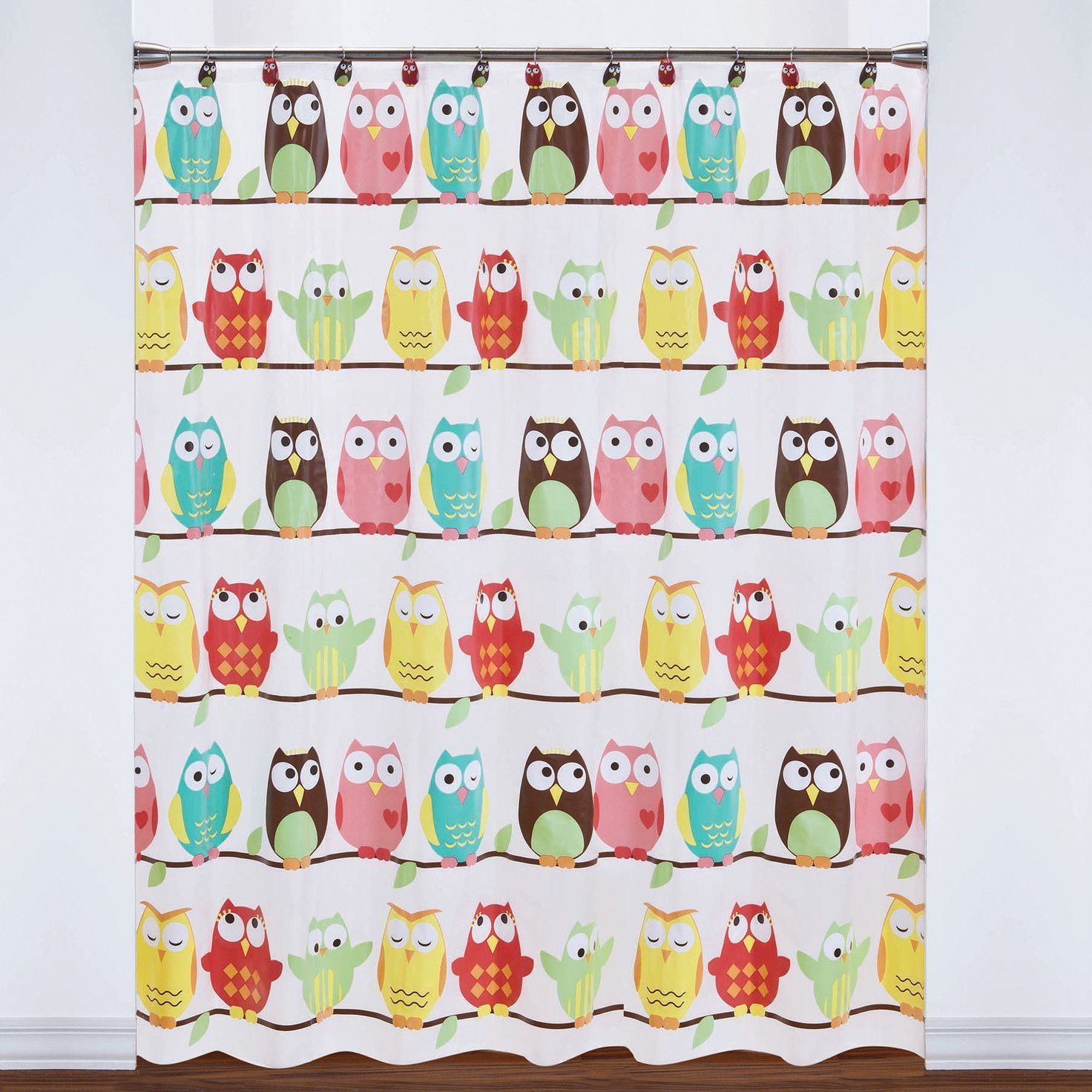 PEVA Colorful Owls Shower Curtain