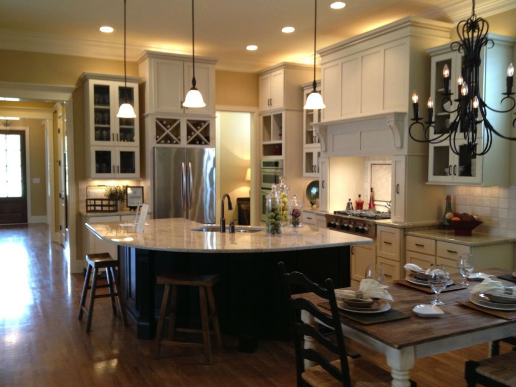 Open Floor Plan Kitchen Dining Living Room White Cabinets Ideas Dark Laminate Flooring For Wood Table And Chairs