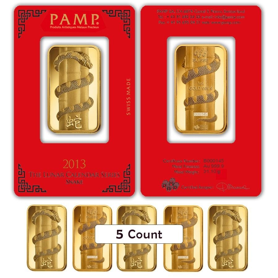 Lot Of 5 1 Oz Pamp Suisse Year Of The Snake Gold Bar In Assay Gold Bar Year Of The Snake Snake