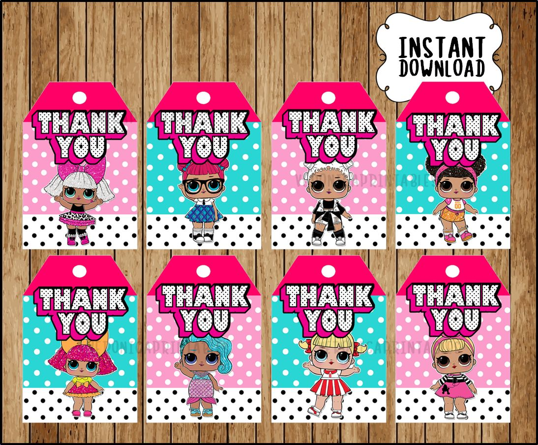 Girls Birthday Themed 12 LOL Thank You Tags Doll Surprise Party Favors Decor