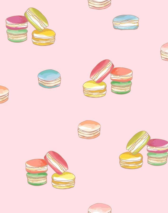 'Macarons' Wallpaper by Nathan Turner - Pink - Removable Panel - Sample