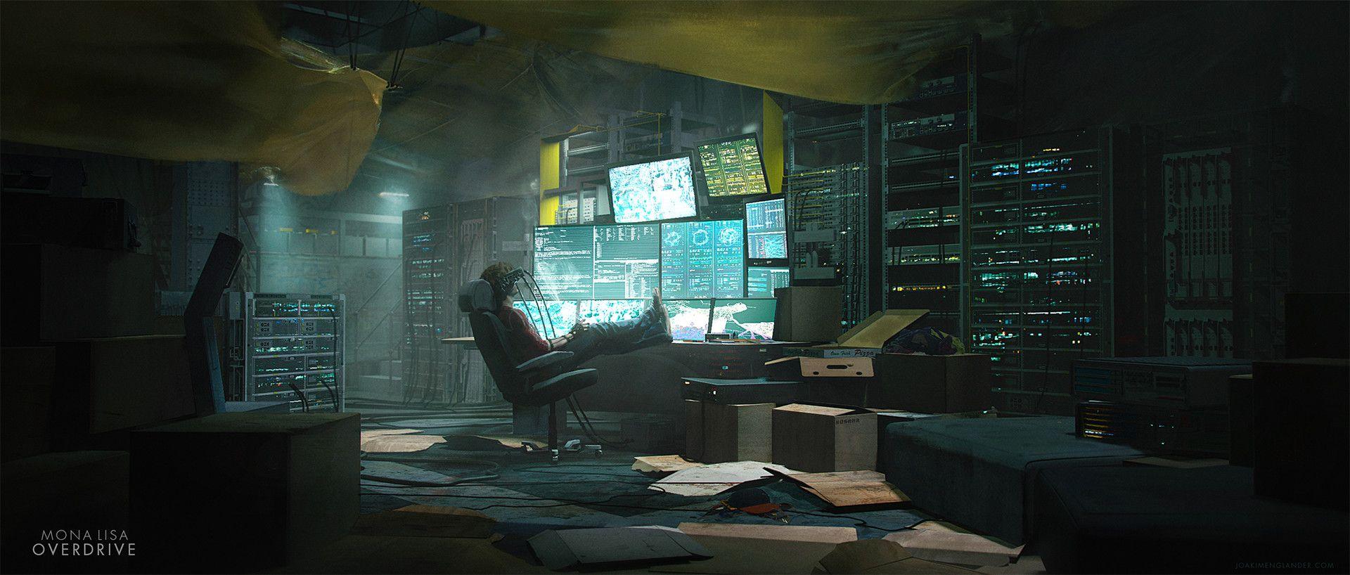 Artstation Mona Lisa Overdrive Hacker Room Joakim