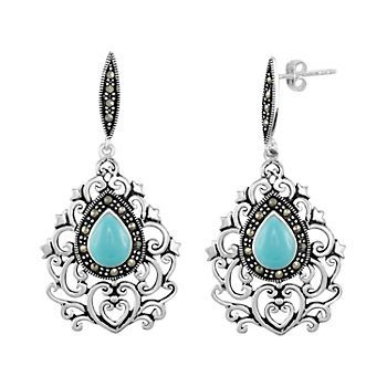 Le Vieux Abalone & Marcasite Silver-Plated Chandelier Earrings ...