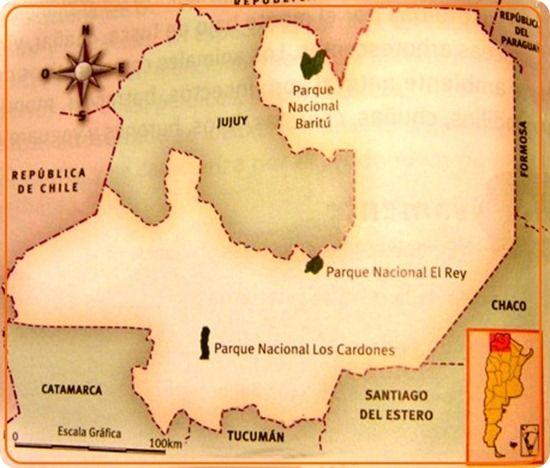 El Parque Nacional Baritú es una de las zonas núcleo de la reserva de biosfera de las Yungas. Mapa