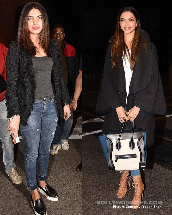 Deepika Padukone Or Priyanka Chopra Who Rocked The Airport Look Fashion Deepika Padukone Bollywood Celebrities