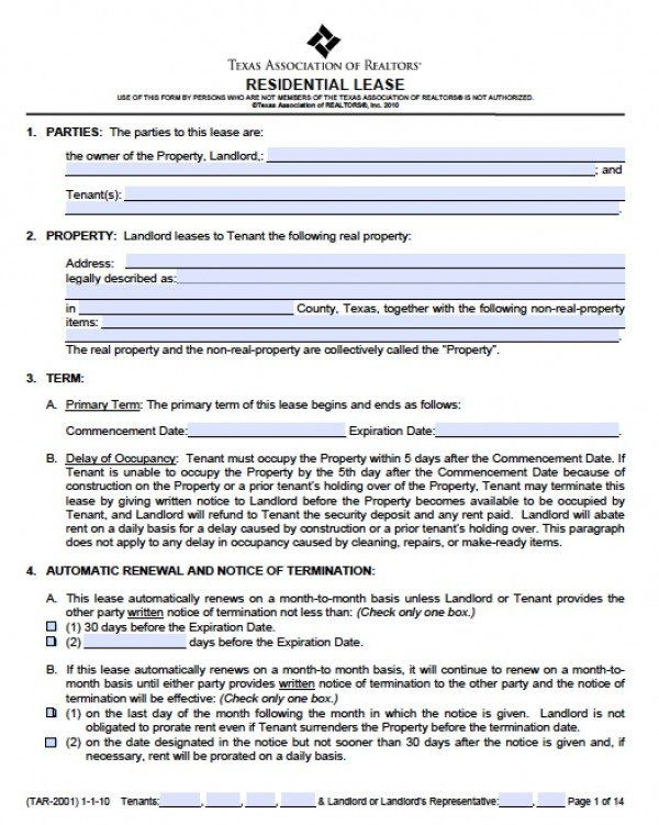 lease agreement texas template free texas residential lease - agreement in word