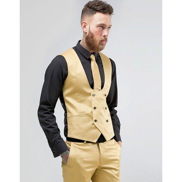Noose & Monkey Super Skinny Suit Vest In Metallic ($76) ❤ liked on Polyvore featuring men's fashion, men's clothing, men's outerwear, men's vests, gold, mens tall vest, mens vest and mens vest outerwear