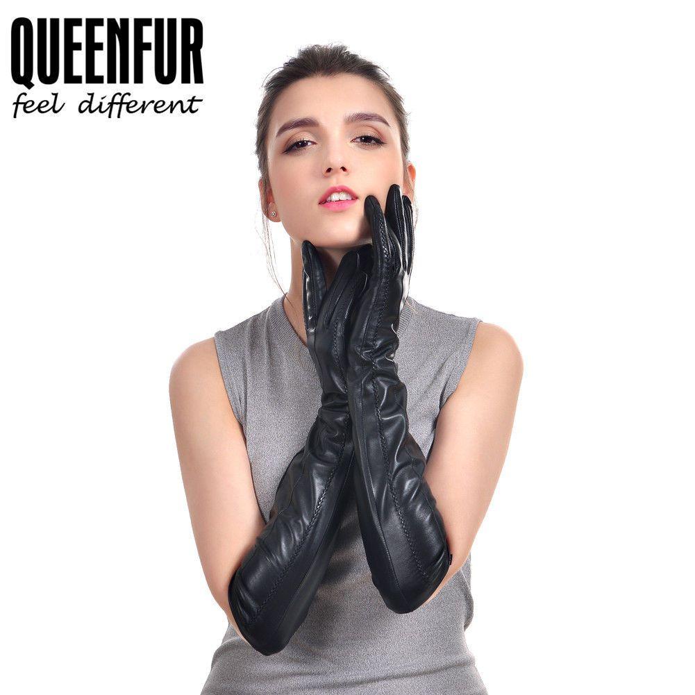 Queenfur women highgrade goat skin real leather gloves women gift