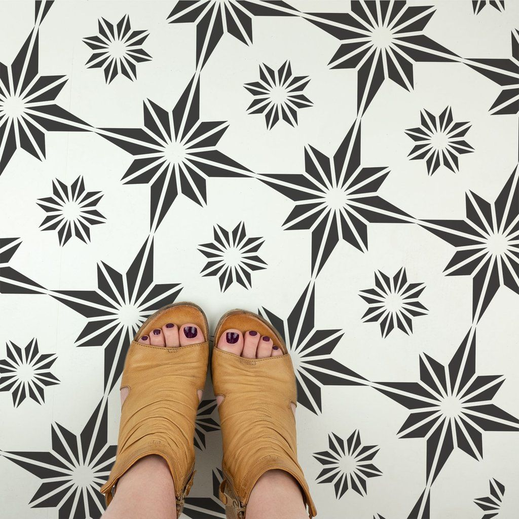 Furniture and More! Reusable Floor Tile Stencils for Painting Custom Floors Walls Nebula Tile Stencil